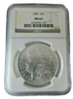 Bright White 1886-P  Morgan Silver $1 Dollar Authenticated NGC MS62