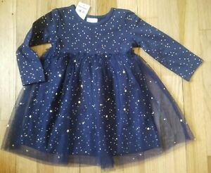 NWT Hanna Andersson NAVY BLUE SOFT TULLE SHIMMER MOON STAR DRESS 80 18-24M $54