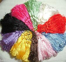 LOT de 10 POMPONS GLAND SATINÉ **13,5 cm** 10 coloris mélangés - bijoux tricot