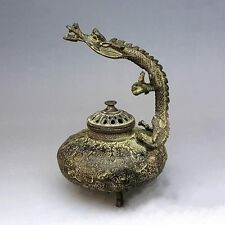 Marked China Fengshui Pure Bronze Dragon Beast Statue Incense Burner Collection