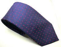 "Hawes & Curtis Men's Tie Blue Red Polka Dot 100% Silk 3.25"" Width 60"" Length"