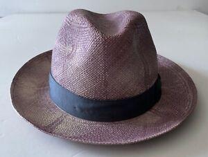 "Borsalino TIE DYE straw hat dusty rose 60cm 7 3/8"" NEW grey ribbon panama"