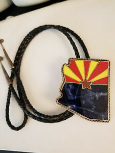 RARE Arizona Shaped Bolo Tie Inlaid Gemstone, Arizona flag, Sterling, JRC