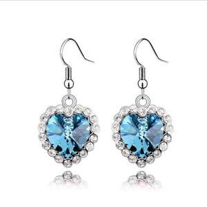 Twinkling Loverly Heart Dangle Genuine Austrian Crystal Earrings 10 Colors