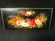 Vtg Hand Painted Floral Design Russian Lacquer Jewlry/Valet Box