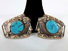 Julia Martinez Navajo Watch Tips Vtg Sterling Silver JJM 20/12KG Turquoise Claw