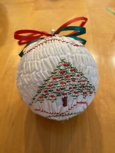 """Vintage Hand Smocked Fabric Christmas Ornament 3"""" Ball White W/Embroidered Tree"""