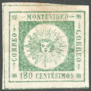 MONTEVIDEO, URUGUAY 1859 180c GREEN THIN LETTERS, VERY FINE USED. SIGNED