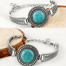 BOHO TURQUOISE Watch Bracelet Cuff Native American Antique Silver Bangle Jewelry