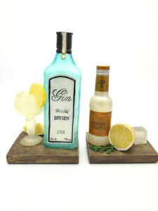 Gin and Tonic Book Ends Shelf Tidy Decorative Home Office Desk Organiser Gift