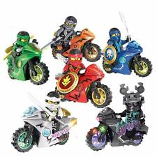 6 Sets Phantom Ninja Ninjago Minifigures Toy Motorcycle Chariot Blocks Fast Ship