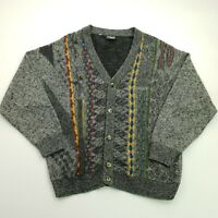Retro Mens Vintage Crazy Abstract Cardigan MEDIUM  Acrylic Wool Jumper Sweater