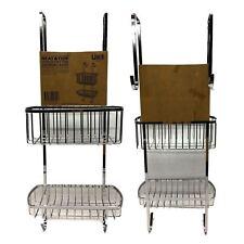New Neat& Tidy Over Door 2 Tier Shower Caddy Rack Chrome Bath Shelf Storage
