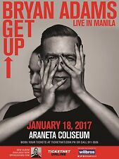 "Bryan Adams ""Get Up Live In Manila"" 2017 Concert Tour Poster -Classic Rock Music"