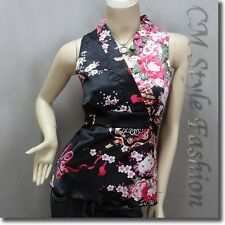Japanese Kimono Sleeveless Silky Satin Top Black S