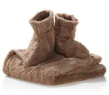 """Clearance! Concierge Collection Faux Fur Throw 50""""x60"""" & Booties, Latte - 1C038H"""