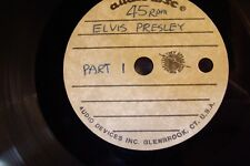 ELVIS PRESLEY ACETATE AUDIODISC CANCER RELIEF!!  LIVE RECORDINGS RADIO SHOWS