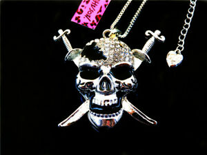 Betsey Johnson White Crystal Enamel Skull Head Pendant Sweater Chain Necklace