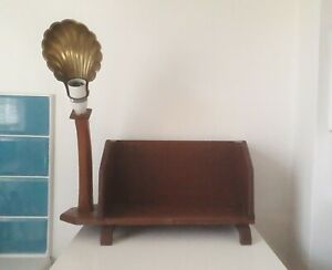 Antique vintage art deco wooden bookstand lamp with brass scallop shell shade