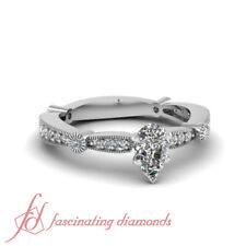 3/4 Carat Pear Shaped Diamond Pave Set Engagement Rings For Women With Milgrain