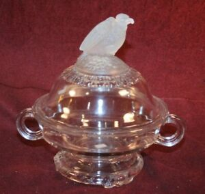 EAPG Cov'd Butter - FROSTED EAGLE aka OLD ABE Pattern - Spec. Crystal Glass 1883