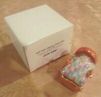 LILIAN VERNON~BABY CRADLE Hinged BOX~NEW  Trinket Porcelain Ceramic