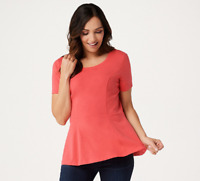 Isaac Mizrahi Live! Short-Sleeve Seamed Peplum Knit Top - Sunset Coral - Medium