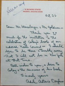 ADELE ASTAIRE 1960s Autograph/Signed-Letter/ALS - Dancer/Singer/Actor - Music