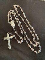 Rosary Pink Aurora Borealis Crystal Beads Catholic Religious Italy Vintage