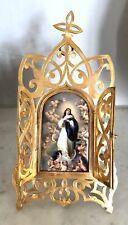 Superbe vierge, Sainte Marie miniature porcelaine PARIS Angelots putti Bronze