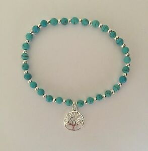 Sterling Silver And Turquoise Beaded Bracelet. Silver Stretch Tree Of Life