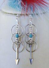 Native American Earring Set Arrow Turquoise Silver Beads Artist BlackHawk
