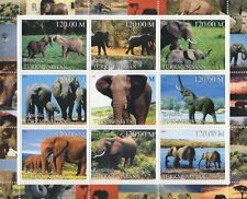ELEPHANT ANIMALS OF THE WILD TURKMENISTAN 2000 MNH STAMP SHEETLET