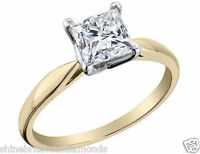 2 Ct Princess Solitaire Engagement Wedding Promise Ring Real 14K Yellow Gold