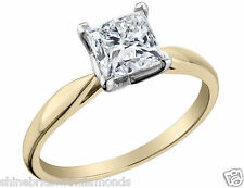 1.50 Ct Princess Solitaire Engagement Wedding Promise Ring Real 14K Yellow Gold