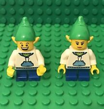 Lego Christmas Elf Mini Figure With Red Short Legs,pointed Ears Headgear Hat X2