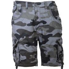 Mens Crosshatch Cargo / Combat Camo Shorts Ryehill - Black