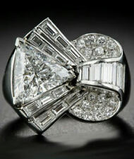 Vintage 925 Sterling Silver Trillion Baguette Round Cut Cocktail Ring 2.20Ct