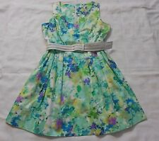 CALVIN KLEIN  floral Green Belted Dress Womens Size 16  NWOT