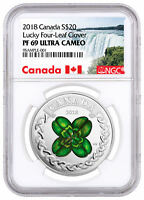 2018 Canada Lucky Clover 1 oz Silver Colorized Proof $20 NGC PF69 UC SKU52584