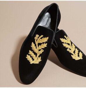 Handmade Mens Velvet Shoes, Handmade Men Embroidered Velvet casual Shoes Slipper