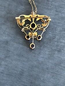 Gold, Amethyst And Seed Pearl Victorian/Edwardian Pendant/Broach