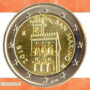 Kursmünzen San Marino: 2 Euro Münze 2015 Palazzo Palast Rathaus zwei € Kursmünze