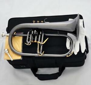 Black Nickel plated Flugelhorn 3 Trigger Flugel Horn 2Pc Mouth With case