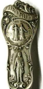 Vintage Detroit Harbor Sterling Collector Spoon Very Ornate Detailed Patina