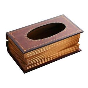 Rectangular Wooden Book Design Facial Tissue Box Napkin Holder for Home Office,