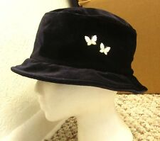 VTG Women's Throwback Cloche Hat w/ butterflies bucket cap embroidery