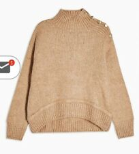 Topshop Button Shoulder Detail Knitted Jumper - Camel Size S Bnwt Rrp £40