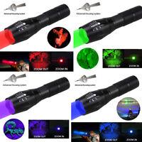 Tactical UV/Green/Red/Blue/White Light LED Flashlight Torch Hog Hunting Light
