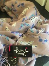 Peony Scarf. Pink  blue, white & mauve butterfly design. New with tags.